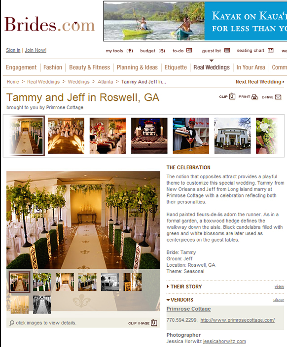 Published Wedding Photography for Primrose Cottage, Roswell GA